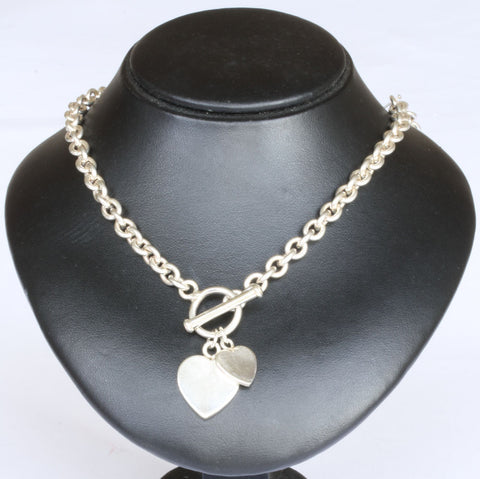 Silver Double Heart with T-bar Chain