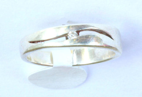Silver Diamond Chip Band