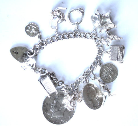 Silver Charm Bracelet with 12 x Charms