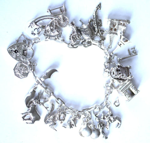 Silver Charm Bracelet with 19 x Charms