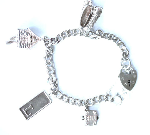Silver Charm Bracelet with 4 x Charms