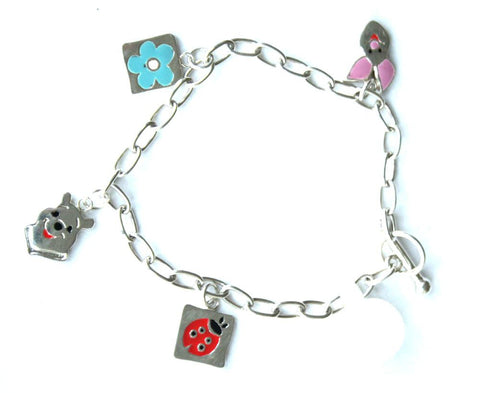 Silver T-Bar Charm With 4 Charms