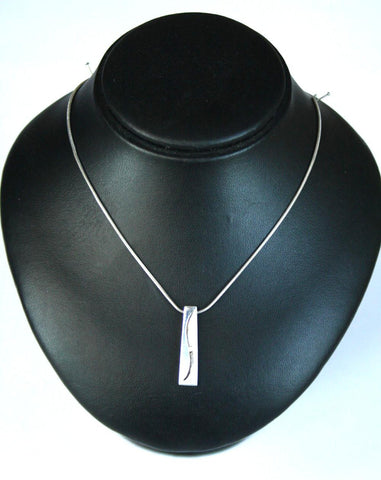Silver Snake Chain & Diamond Chip Squiggle