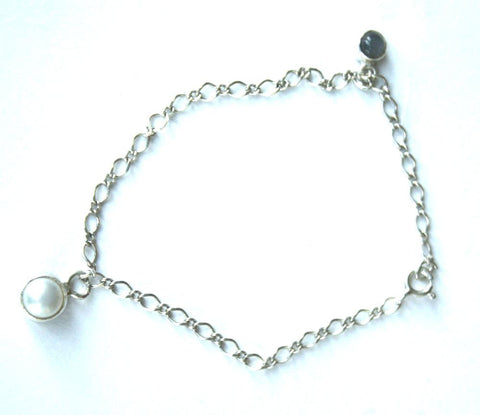 Silver Bracelet With 2 Stone Charms