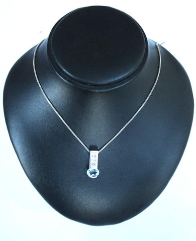 Silver Box Chain & 3 Cubic Zirconia & Blue Drop