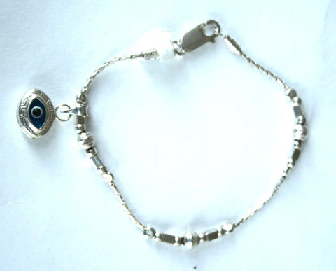 Silver Ball & Square Bracelet With Eye