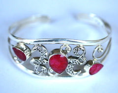Silver 3 Red Stone Fancy Cuff