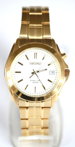 New Gents Seiko Stainless Steel Kinetic (White Face)