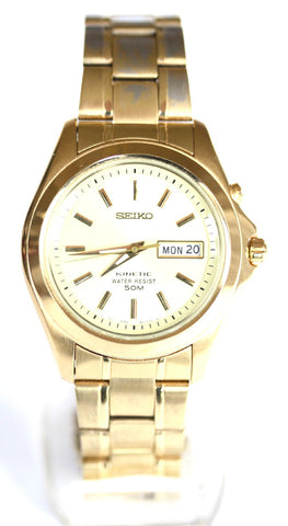 New Gents Seiko Stainless Steel Kinetic (Gold Face)