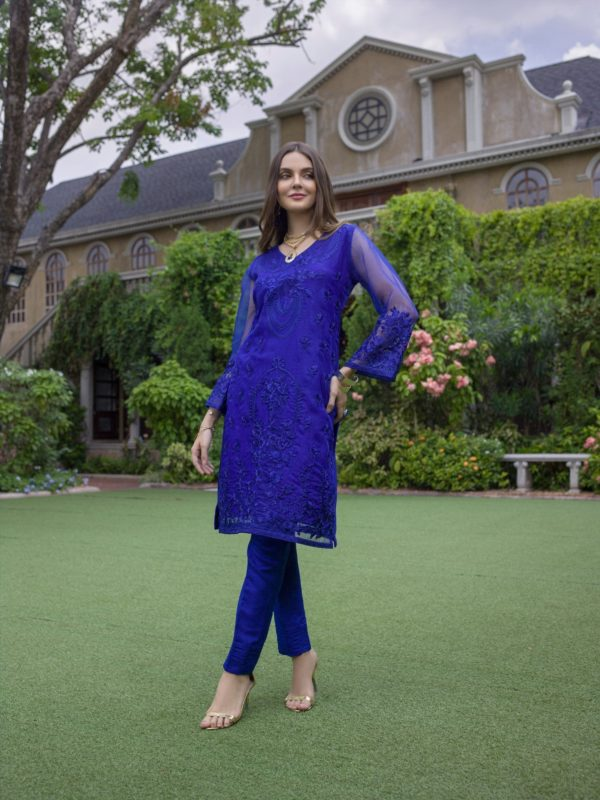 Wishcart-PakistaniKurtis-Azure Luxury Embroidered Exclusive Kurits Vol 5 - Sapphire Dust D08