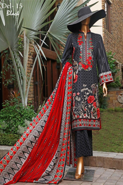 Wishcart-Pakistanisuits-Diamond Embroidered Collection Del 15 Black