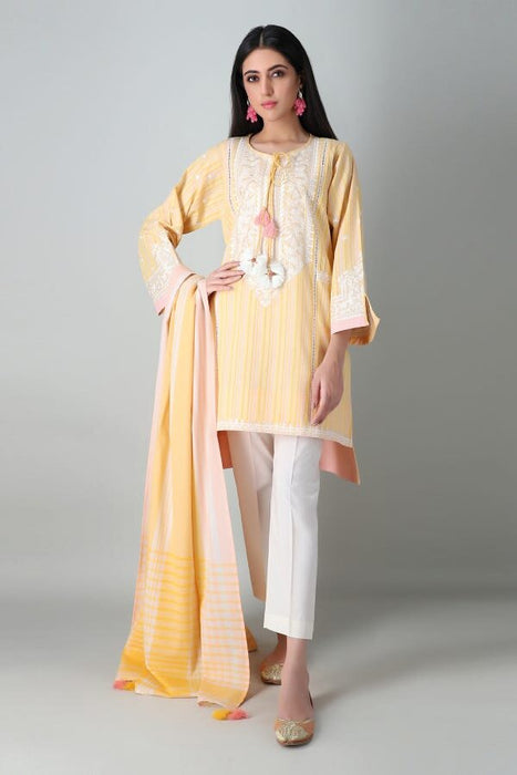 Khaadi Spring Lawn 2021 – MYD21102 Yellow Embroidered Kameez Dupatta