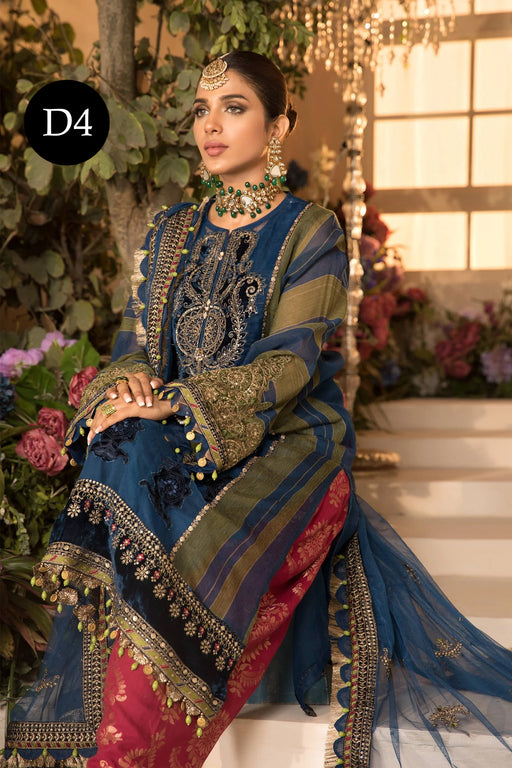 MARIA. B Mbroidered Unstitched Eid 2021 – Design D4