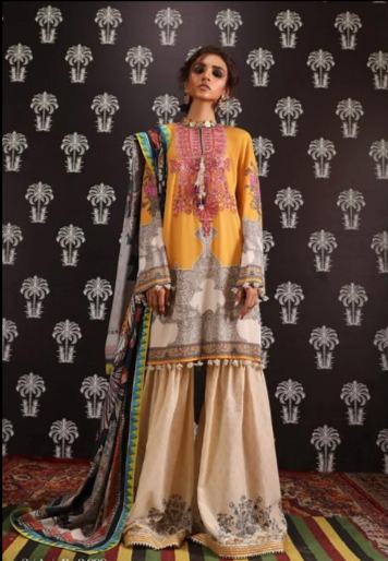 Digitally printed front on lawn: 1.25m Digitally printed back on lawn: 1.25m Digitally printed sleeves on lawn: 0.65m Embroidered neckline on organza Printed pants: 2.5m Digitally printed Dupatta on lawn: 2.5m Wishcart.in