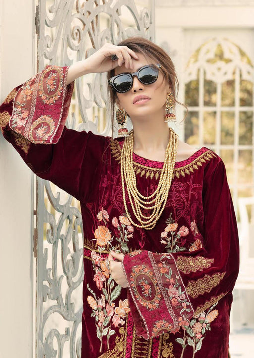 Wishcart-Pakistanisuits-Shaista Embroidered Velvet Dresses 2019- SVC-297