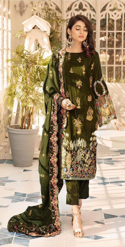 Wishcart-Pakistanisuits-Shaista Embroidered Velvet Dresses 2019- SVC-298