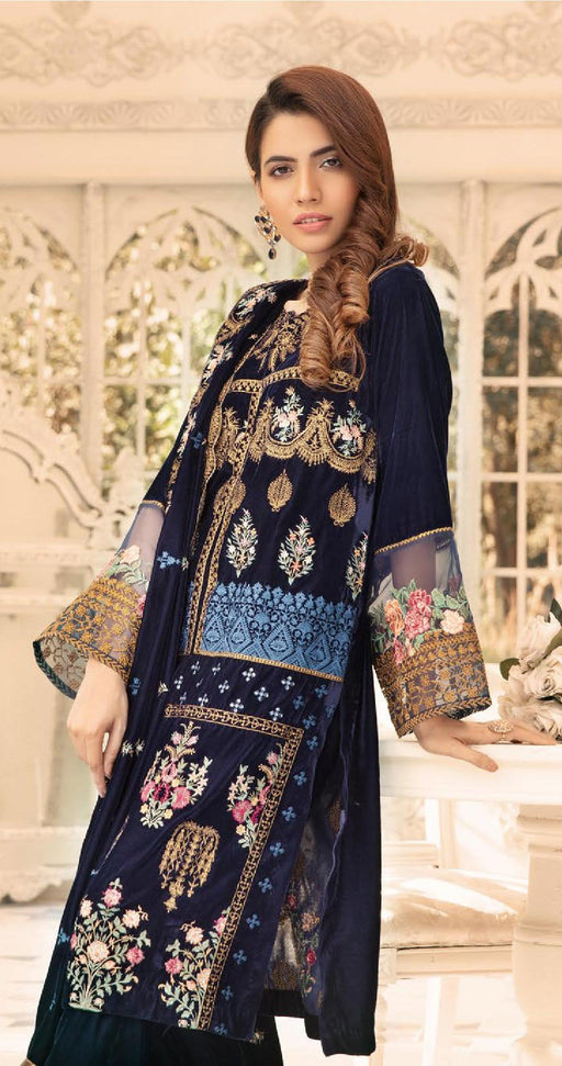 Wishcart-Pakistanisuits-Shaista Embroidered Velvet Dresses 2019- SVC-305