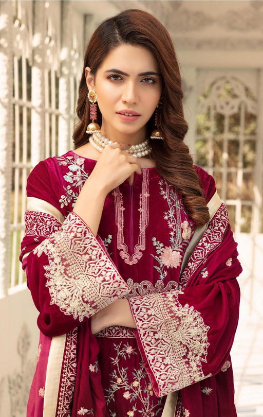 Wishcart-Pakistanisuits-Shaista Embroidered Velvet Dresses 2019- SVC-307