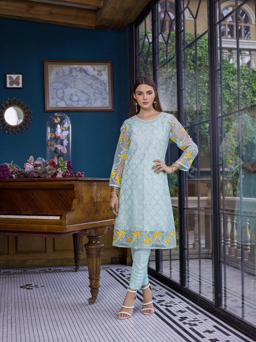 Azure Luxury Embroidered Exclusive Kurits Vol 5 - Ice Waves D01