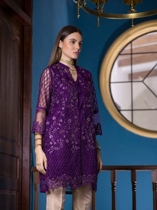 Wishcart-PakistaniKurtis-Azure Luxury Embroidered Exclusive Kurits Vol 5 - Clover Plum D03