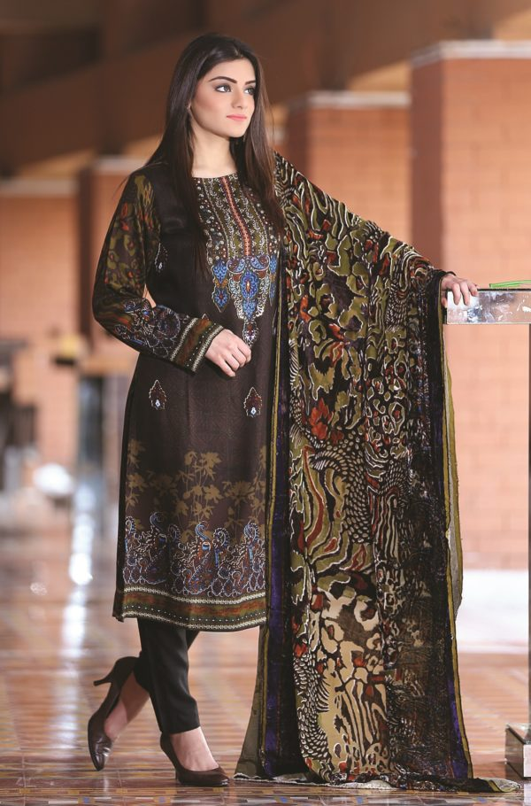 Wishcart-Pakistanisuits-Sana & Samina Twill Palachi Vol 3 TPP-016B Brown
