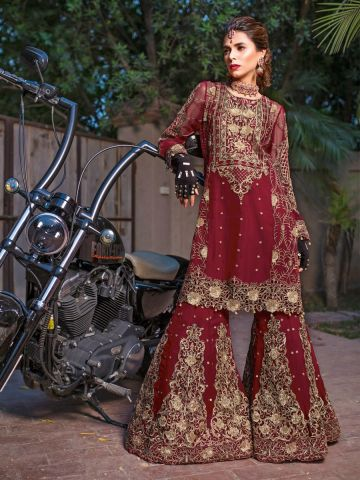 Royal Wedding embroidered sharara suit@wishcart.in