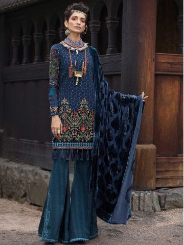 Jacquard embroidered Pakistani party wear suit@wishcart.in
