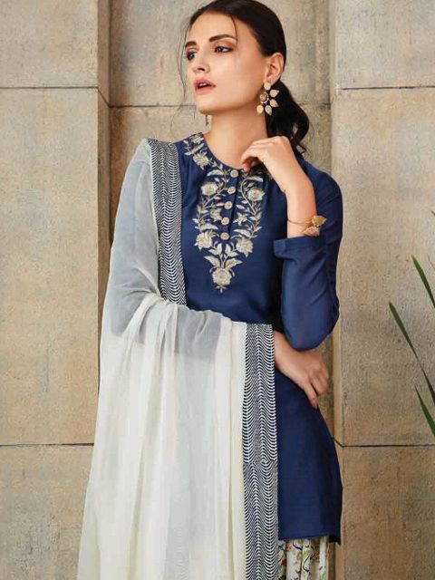 Chanderi suit by payal singhal@wishcart.in
