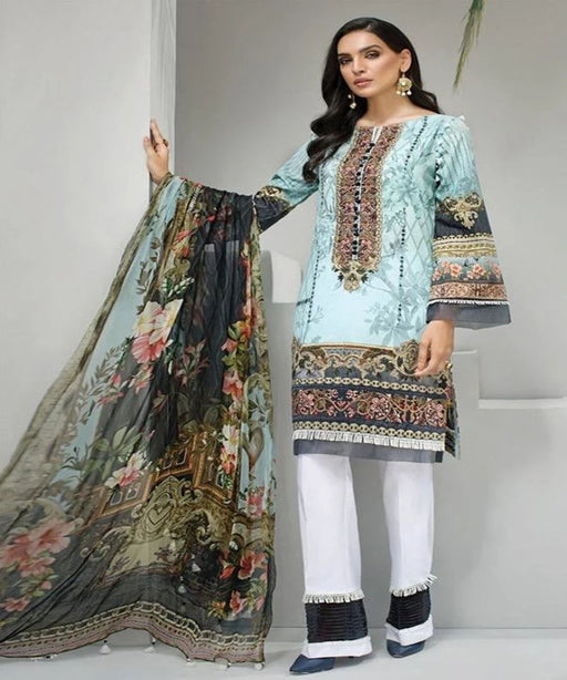 Wishcart-Pakistanisuits-Iris Lawn by Jazmin Vol 2 2019 Collection AQUA AZURE 7
