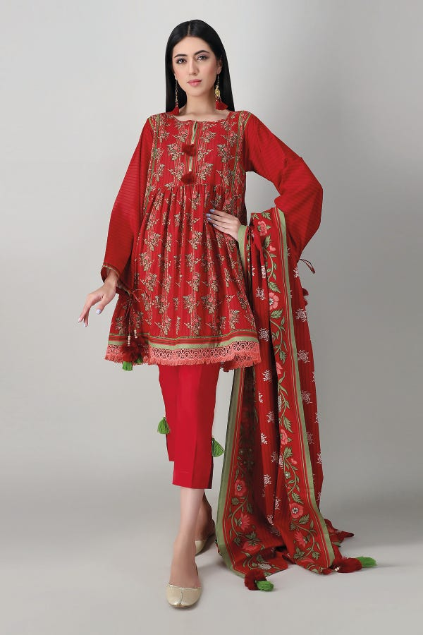 Khaadi Spring Lawn 2021 – A21124 Red
