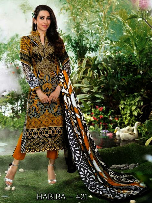 Cotton unstitched suit by Habiba@wishcart.in
