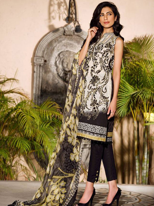 Faraz Manan Crescent Lawn Original Pakistani Dresses & Suits Unstitched Eid Collection 01 wishcart.in