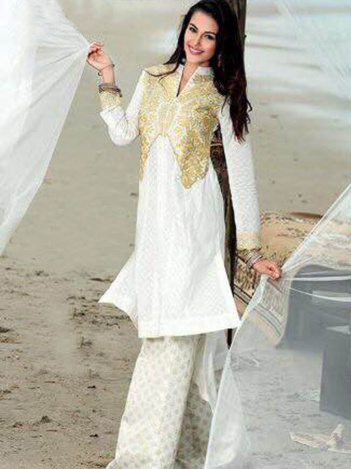 Gul Ahmed Embroidered Unstitched Kurti@wishcart.in