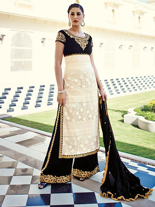 beige and black colour party wear designer suit@wishcart.in