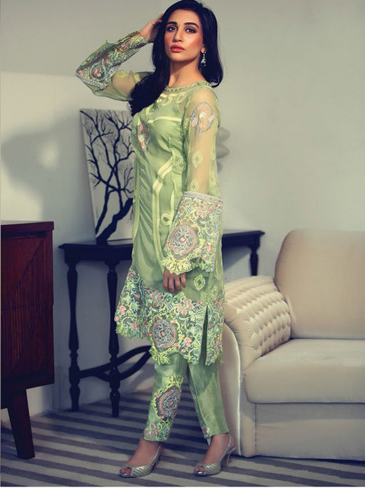 Green embroidred suit by Rungrez@wishcart.in