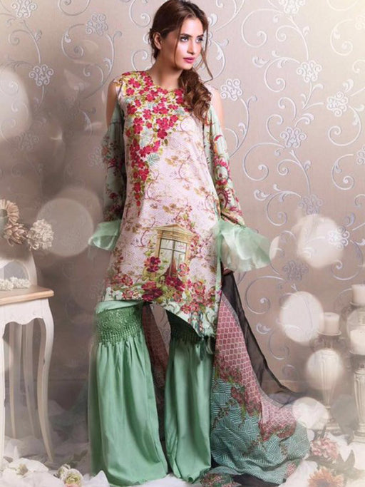 Digital print embroidered suit@wishcart.in
