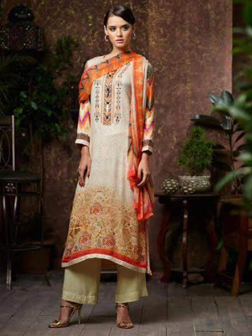 Designer pashmina print suit with embroidery@wishcart.in