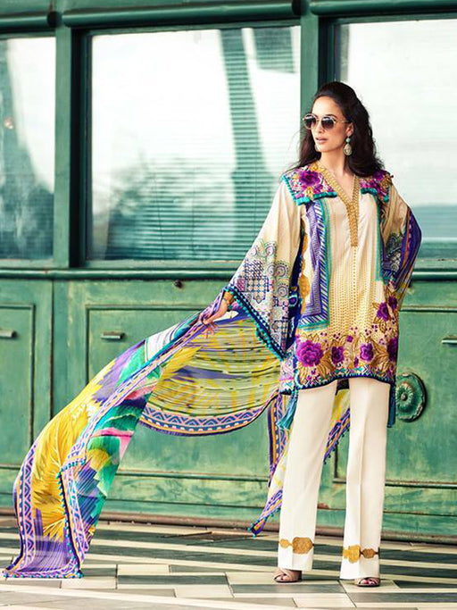 Faraz Manan Embroidered Lawn Original Pakistani Dresses & Suits Collection 01 wishcart.in
