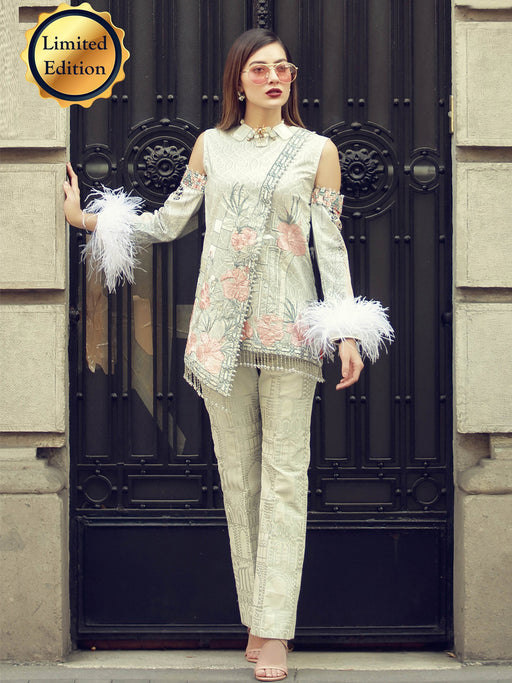 Embroidered shirt and jacquard trouser suit@wishcart.in