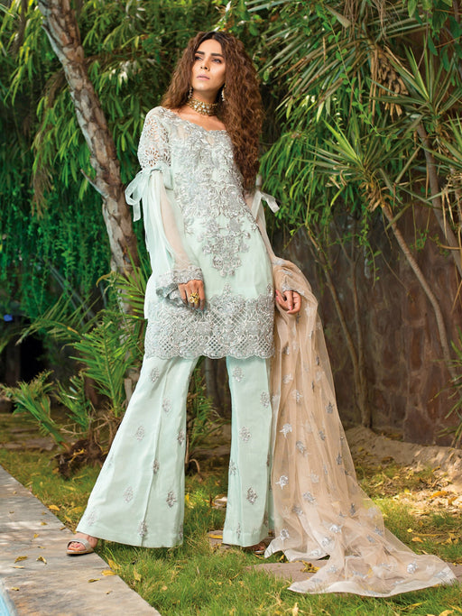 Sequence border with embroidered front back style@wishcart.in
