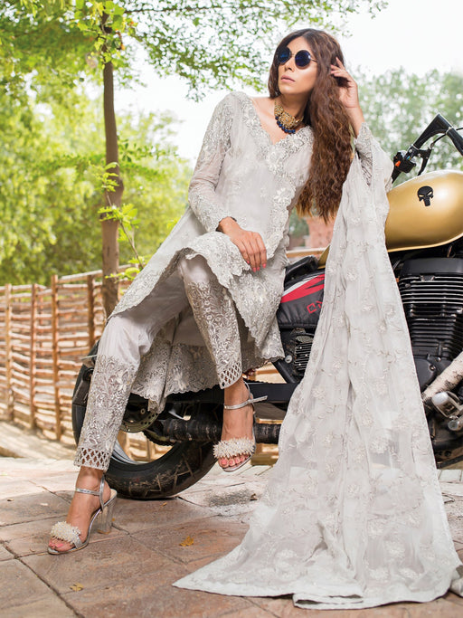 Embroidered organza fabric suit with chiffon dupatta@wishcart.in