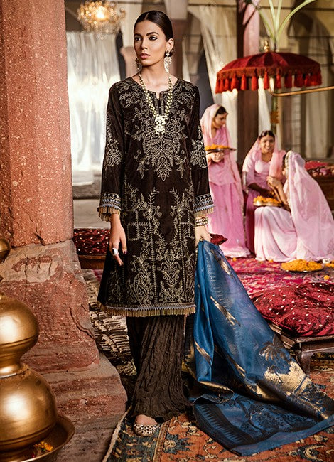 Iznik Festive Velvet Original Pakistani Dresses & Suits Collection CHOCOLATE BROWN - 01 wishcart.in