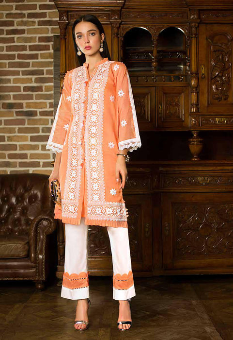 Gul Ahmed Original Pakistani Dresses & Suits Formal Collection 2019 - Zesty Peach 01 wishcart.in