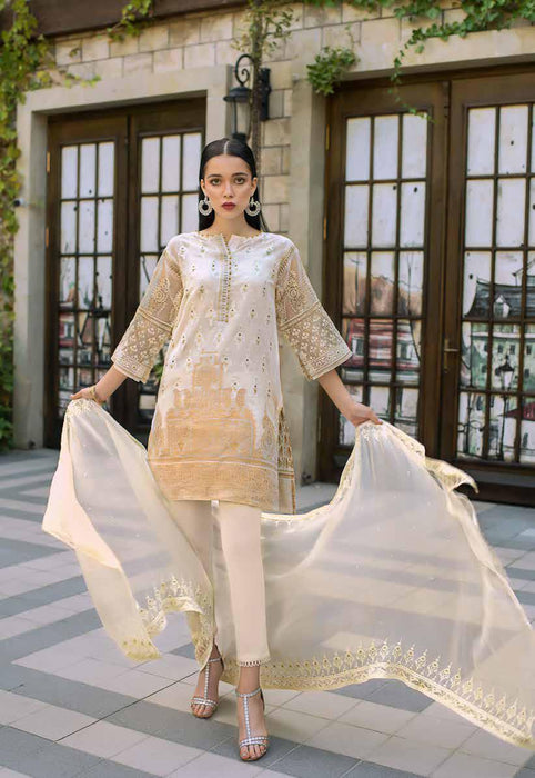 Gul Ahmed Original Pakistani Dresses & Suits Formal Collection 2019 - PWoven Caramel 01  wishcart.in