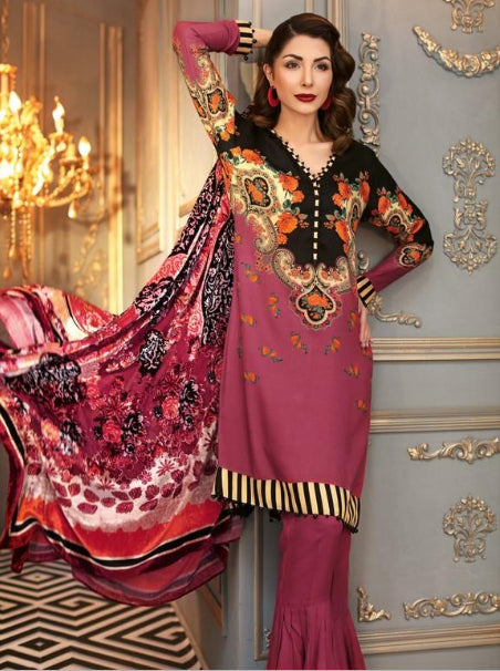 Gul Ahmed Silk Velvet Original Pakistani Dresses & Suits Collection - 01 wishcart.in