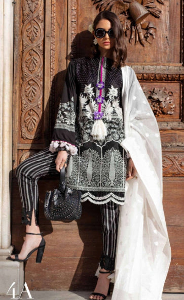 Sana Safinaz Luxury Lawn Collection 2019 4A - Monocromatico