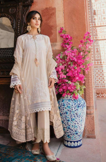 Trouser style printed embroidered suit by Qalamkar@wishcart.in