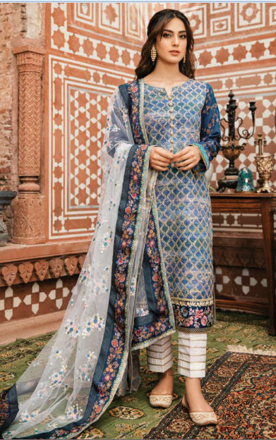 Digital print suit with embroidered dupatta by Qalamkar@wishcart.in