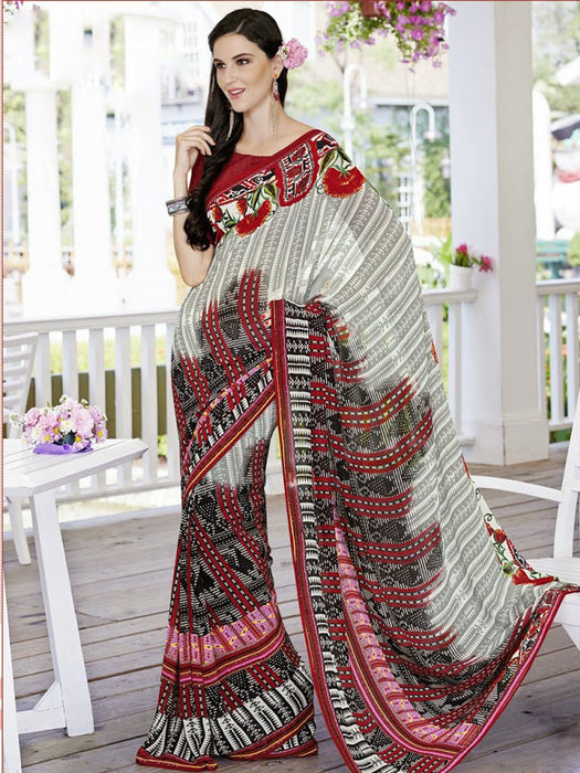Designer Georgette Printed Saree@wishcart.in