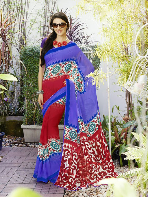 Georgette Printed Saree@wishcart.in